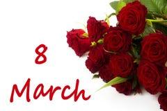 Vrouwen` s dag - bloemen met woord 8 Maart Stock Afbeeldingen