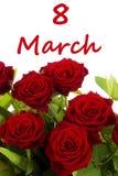 Vrouwen` s dag - bloemen met woord 8 Maart Stock Foto's