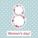 Vrouwen ` s dag 8 maart-kaart met bloemen en bladeren op blauwe achtergrond royalty-vrije illustratie