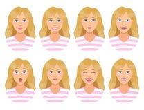 Vrouwen` s emoties Vrouwelijke gezichtsuitdrukking Het leuke Meisje van het Beeldverhaal Royalty-vrije Stock Afbeelding