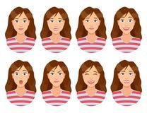 Vrouwen` s emoties Vrouwelijke gezichtsuitdrukking Vrouwenavatar Stock Foto's