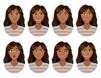 Vrouwen` s emoties Vrouwelijke gezichtsuitdrukking Vrouwenavatar Royalty-vrije Stock Foto's