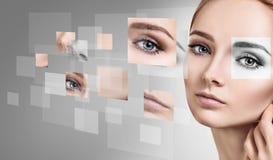 Vrouwen` s gezicht uit verschillende delen wordt bijeengezocht dat royalty-vrije stock fotografie