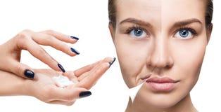 Vrouwen` s gezicht before and after verjonging stock foto's