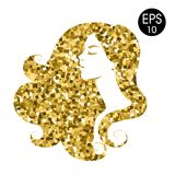 Vrouwen` s gouden silhouet Vectormanierportret Gouden mozaïeksilhouet Royalty-vrije Stock Foto's