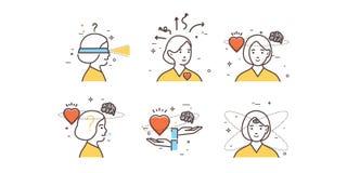 Vrouwen` s intuïtie Vlakke ontwerpreeks van intuïtie, inzicht, anticiperen, keus vector illustratie