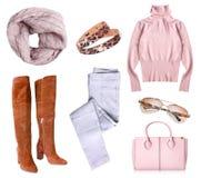 Vrouwen` s kleren geplaatst geïsoleerde collage Stock Fotografie