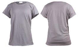 Vrouwen` s lege grijze t-shirt, voor en achterontwerpmalplaatje Royalty-vrije Stock Fotografie