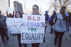Vrouwen ` s Maart op Chicago 2017 royalty-vrije stock afbeeldingen