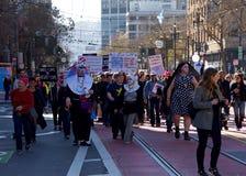 Vrouwen` s Protest Maart, San Francisco, C Stock Fotografie