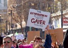Vrouwen` s Protest Maart, San Francisco, CA Stock Foto