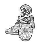 Vrouwen` s schoenen met een mooi patroon schoeisel stock illustratie