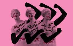Vrouwen` s strijd voor hun rechten De visuele metafoor van Venus de Milo moderniseerde en feminized stock fotografie