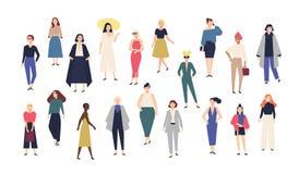 Vrouwen` s wereld Menigte van meisjes gekleed in in toevallig en formele kleding Inzameling van vrouwelijke beeldverhaalkarakters royalty-vrije illustratie