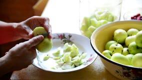 Vrouwen scherpe appelen voor het koken van ingeblikte compote stock video