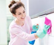 Vrouwen schoonmakende keuken Stock Afbeeldingen