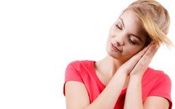 Vrouwen slaperig vermoeid meisje die bijna in slaap vallen stock afbeeldingen