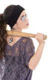 Vrouwen Spaanse misdadiger met knuppel op wit royalty-vrije stock fotografie