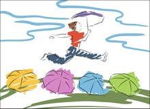vrouwen sprongen met de paraplu vector illustratie