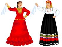 Vrouwen in traditioneel Royalty-vrije Stock Afbeeldingen