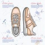 Vrouwen van de manier de schoenen van de vectorschets Stock Foto's