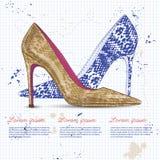 Vrouwen van de manier de schoenen van de vectorschets Stock Afbeelding