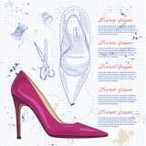 Vrouwen van de manier de schoenen van de vectorschets Stock Foto