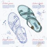 Vrouwen van de manier de schoenen van de vectorschets Royalty-vrije Stock Fotografie