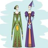 Vrouwen van de middenleeftijden in historische kleren Royalty-vrije Stock Foto's