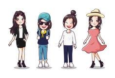 Vrouwen velen de kleding van de stijlmanier met gelukkige dag vector illustratie