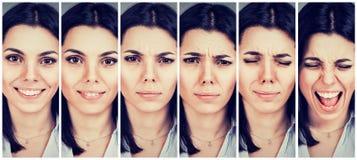 Vrouwen veranderende stemming van gelukkig het zijn aan verstoord en boos het worden royalty-vrije stock afbeelding