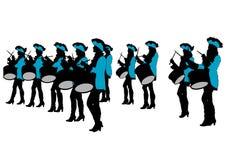 Vrouwen vijf van de trommelparade Stock Afbeeldingen