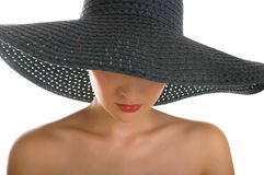 Vrouwen in zwarte hoed Royalty-vrije Stock Foto's
