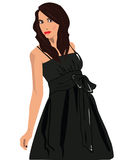 Vrouwen in zwarte kleding vector illustratie