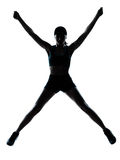 Vrouwenagent jogger gelukkig springen Royalty-vrije Stock Foto