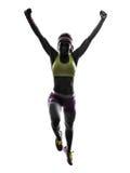 Vrouwenagent lopend het springen silhouet royalty-vrije stock fotografie