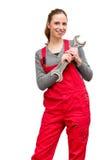 Vrouwenarbeider met moersleutels Royalty-vrije Stock Afbeelding