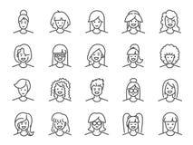 Vrouwenavatar de reeks van het lijnpictogram Inbegrepen pictogrammen als Wijfje, Meisje, Persoonlijk Profiel, en meer vector illustratie