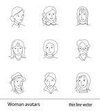 Vrouwenavatar vastgestelde dunne lijnvector Stock Afbeelding