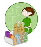 Vrouwenbeeldverhaal met een mand in een supermarkt Royalty-vrije Stock Foto's