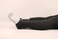 Vrouwenbenen en een kop thee Stock Foto