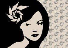 Vrouwenbloem op hoofd stock illustratie
