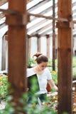 Vrouwenbloemist die in tuin werken royalty-vrije stock afbeelding