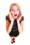 Vrouwenblonde het buisnesswoman geïsoleerd schreeuwen Royalty-vrije Stock Afbeelding