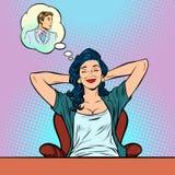 Vrouwendromen, engelen perfecte man stock illustratie
