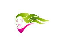 Vrouwenembleem, salonsymbool, haarpictogram, manierschoonheid, kosmetisch conceptontwerp Stock Afbeeldingen