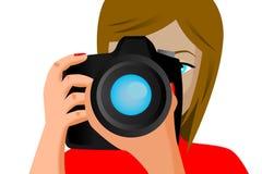 Vrouwenfotograaf op de witte achtergrond wordt geïsoleerd die Royalty-vrije Stock Afbeeldingen