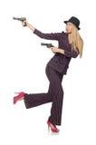 Vrouwengangster met kanon Stock Foto's
