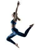 Vrouwengeschiktheid excercises het springen silhouet Royalty-vrije Stock Foto's