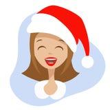 Vrouwengezicht in de hoed van Santa Claus Stock Fotografie